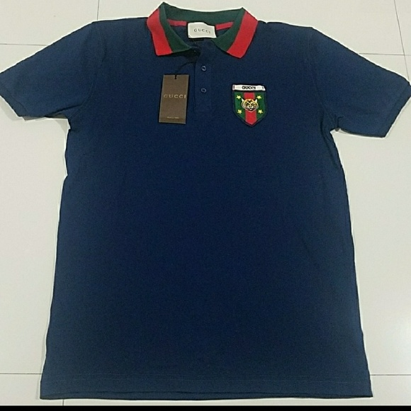 b0c4cdf3 gucci Shirts | Polo T Shirt Tiger Stripe Blue Red | Poshmark